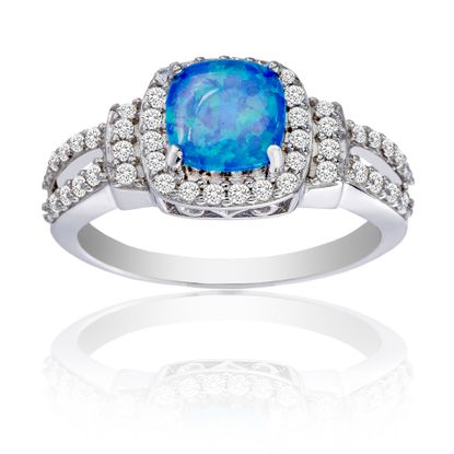 Imagen de Sterling Silver Round Blue Opal Cubic Zirconia Border Square Ring Size 6