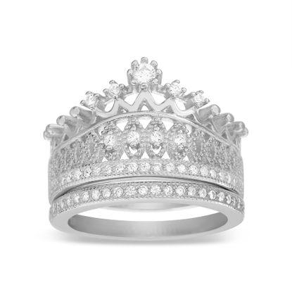 Imagen de Sterling Silver Cubic Zirconia Crown Design 2pc Ring Set Size 7