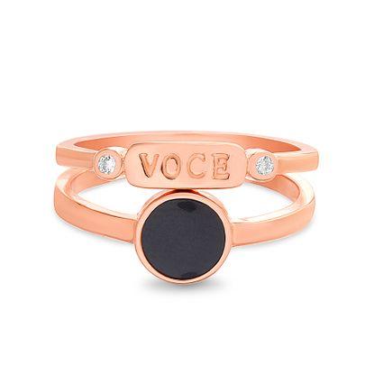 Imagen de Sterling Silver 2pc Black Stone Ring Set Size 6