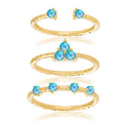 Imagen de Sterling Silver 3pc Blue Opal Stackable Ring Set