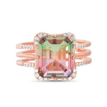 Picture of Sterling Silver Multi-Color Cubic Zirconia Emerald Cut Center Ring Size 6