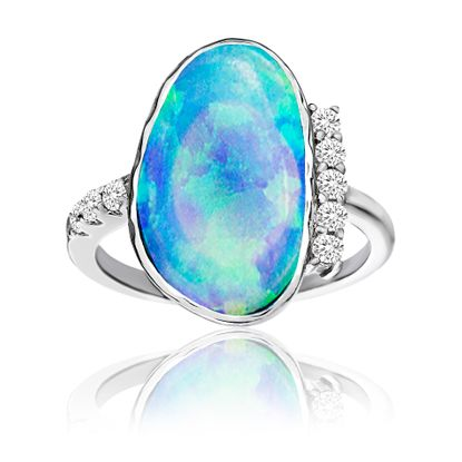 Imagen de Sterling Silver Geo Shaped Blue Opal & Cubic Zirconia Border Ring