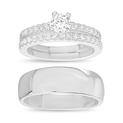 Imagen de Sterling Silver Cubic Zirconia Pave/Polished Band Four Prong Round Center Trio Wedding Ring Size 6