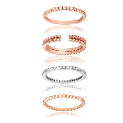 Imagen de Sterling Silver Cubic Zirconia Beaded 2 Color 4 Piece Cuff & Eternity Band Ring Size 060