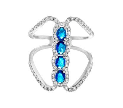 Imagen de Oval Blue & Clear Genuine Cubic Zirconia Bar Open Work Ring in Sterling Silver