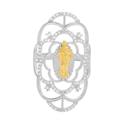 Imagen de Cubic Zirconia Flower Shape Virgin Mary Ring in Two-Tone Sterling Silver