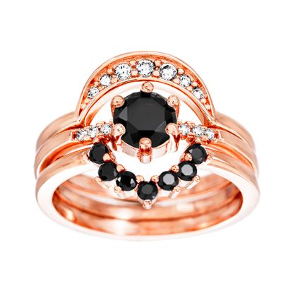 Imagen de Black/Clear Cubic Zirconia Solitaire and Crescent 3 Piece Ring Set in Rose Gold over Sterling Silver