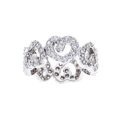 Picture of Cubic Zirconia Heart Band Ring in Sterling Silver