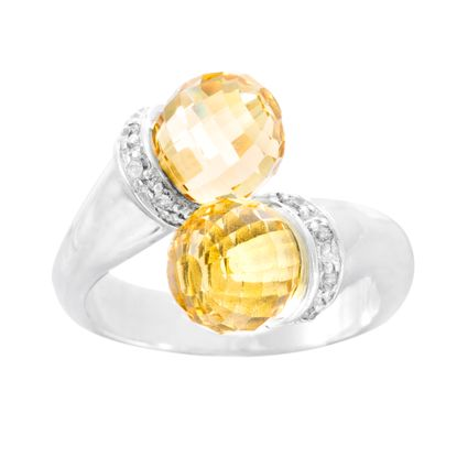 Imagen de Sterling Silver Cubic Zirconia Design and Faceted Citrine End Bypass Ring Size 6