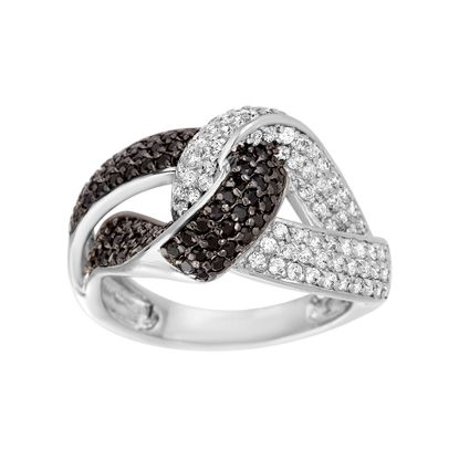 Picture of Black Rhodium & Rhodium Plated Brass Black & Clear Cubic Zirconia Knot Ring