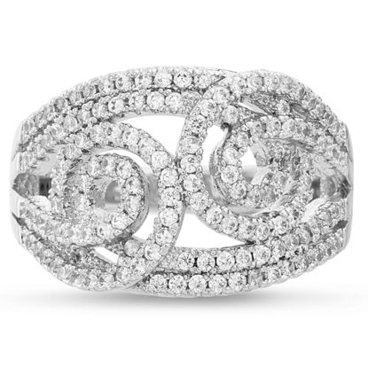 Imagen de Brass Cubic Zirconia Swirl Channel Graduated Ring