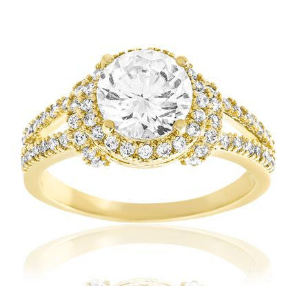 Imagen de Cubic Zirconia Double Halo Split Sides Ring in Gold over Brass