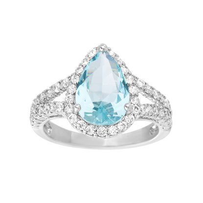 Picture of Silver-Tone BrassTeardrop Shape Aqua Cz & Clear Halo Ring Size 8