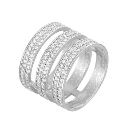 Imagen de Silver-Tone Brass CZ Pave Triple Strand Ring Size 6
