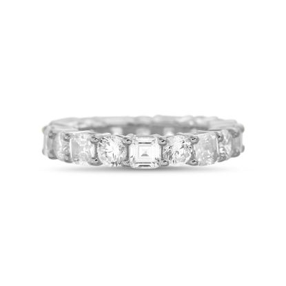 Imagen de Cubic Zirconia Round and Square Emerald Cut Eternity Common Prong Band Ring in Rhodium over Brass Size 6