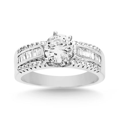 Picture of Baguette and Round Cubic Zirconia Engagement Ring in Rhodium over Brass Size 8