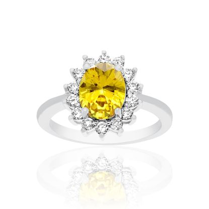 Imagen de Yellow and Clear Cubic Zirconia Oval Halo Ring