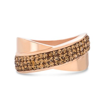 Picture of Rose-Tone Brass Pave Chocolate Crystal Crossover Design Ring Size 8