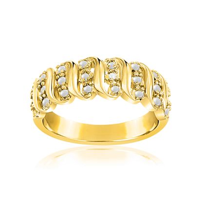Picture of Diamond Accent Wavy Design Ring In Yellow Gold and Rhodium over Brass Size 7