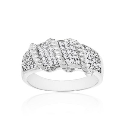 Picture of Silver Tone Brass Cubic Zirconia Ribbed Ring Size 7