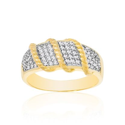 Picture of Two Tone Brass Cubic Zirconia Ribbed Ring Size 7