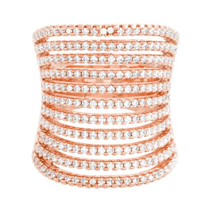 Imagen de Rose-Tone Brass 11 Row Cubic Zirconia Concave Ring Size 6