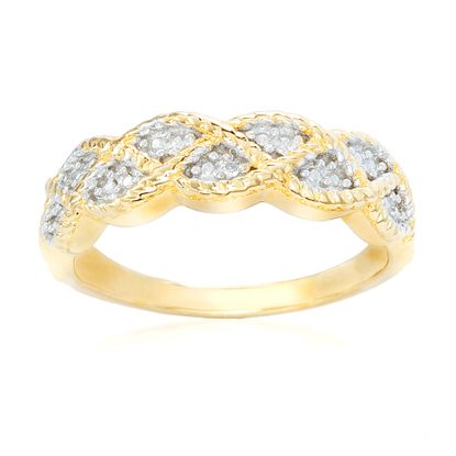 Picture of Gold-Tone Brass Cubic Zirconia Wavy Design Ring Size 6