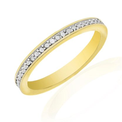 Picture of Diamond Accent Wedding Band Ring in Yellow Gold over Brass Size 5