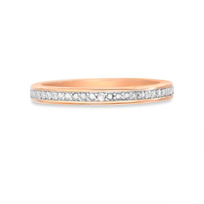 Picture of Diamond Accent Wedding Band Ring in Rose Gold over Brass Size 6
