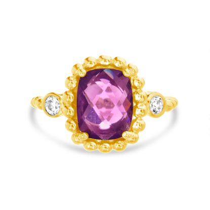 Imagen de Gold-Tone Brass Round Clear and Square Purple Cubic Zirconia Multi-Ball Border Ring Size 6