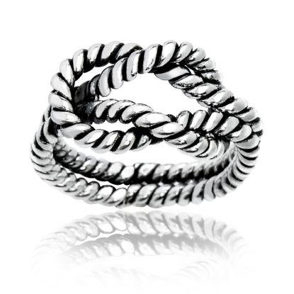 Imagen de Silver-Tone Brass Love Knot Rope Design Ring Size 6