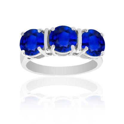 Imagen de Silver-Tone Brass Triple Blue Cubic Zirconia Ring Size 7