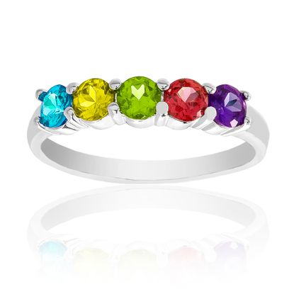 Imagen de Silver-Tone Brass Multi-Color Glass Stone Ring Size 6