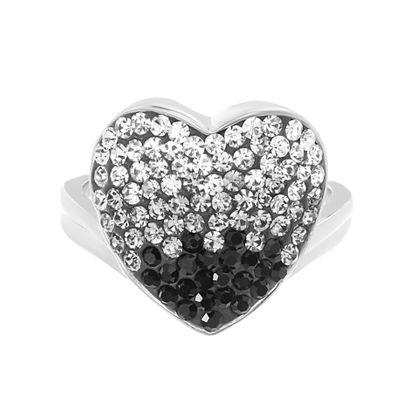 Imagen de Silver-Tone Brass Multi Colored Crystal Heart Ring Size 8