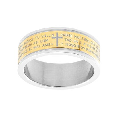 Imagen de Spanish Prayer Band Ring in Two-Tone Stainless Steel