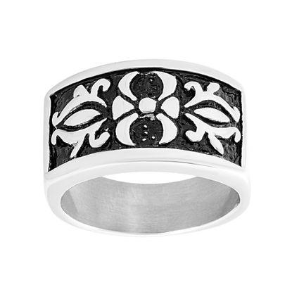 Imagen de Men's Rectangular Fancy Ring in Stainless Steel
