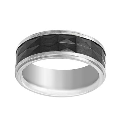 Imagen de Silver-Tone Stainless Steel Black Ceramic Band Ring