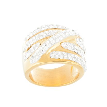 Imagen de Gold-Tone Stainless Steel Cubic Zirconia Wide Band Rng Size 6