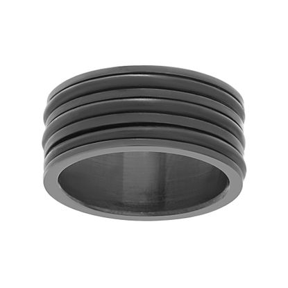 Imagen de Black-Tone Stainless Steel Men's Ribbed Band Ring Size 10