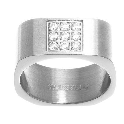 Imagen de Men's Silver-Tone Stainless Steel Cubic Zirconia Center Square Design Satin Ring