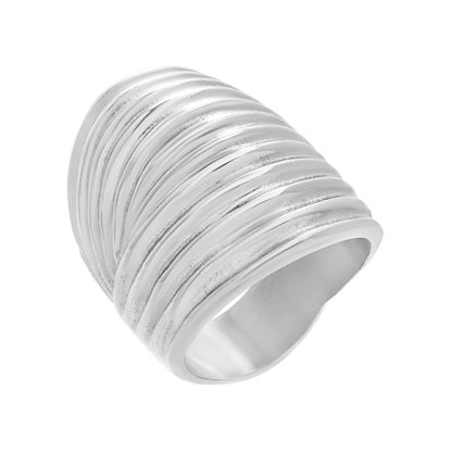 Imagen de Wide Ribbed Ring in Stainless Steel