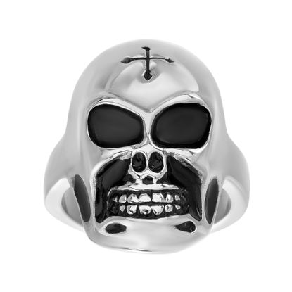 Imagen de Silver-Tone Stainless Steel Mens Skull Band Ring Size 10