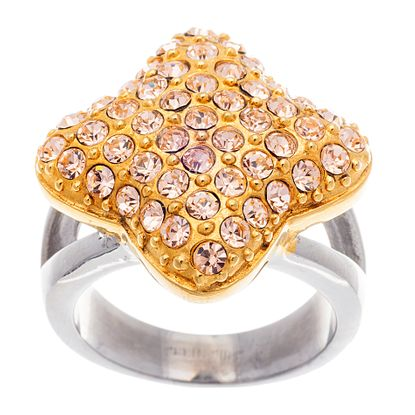 Imagen de Two-Tone Stainless Steel Champagne Crystal Square Ring Size 6