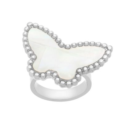 Imagen de Silver-Tone Stainless Steel Freshwater Pearl Butterfly Ring Size 7
