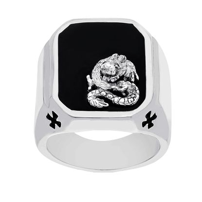 Imagen de Men's Two-Tone Stainless Steel Dragon Square Ring