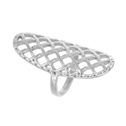 Imagen de Silver-Tone Stainless Steel Checkerboard Mesh Elongated Ring Size 7