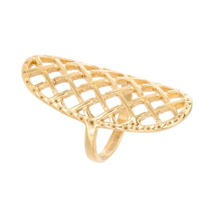 Imagen de Gold-Tone Stainless Steel Checkerboard Mesh Elongated Ring Size 6