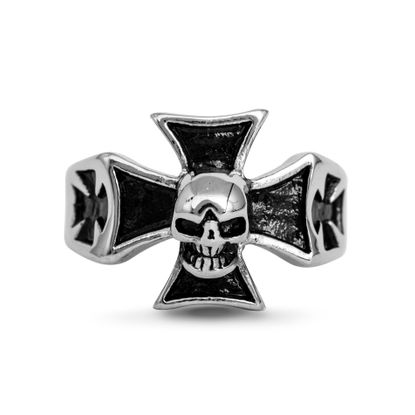 Imagen de Silver-Tone Stainless Steel Skull Cross Ring