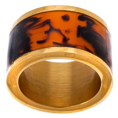 Imagen de Gold-Tone Stainless Steel Tortoise Resin Barrel Ring Size 6