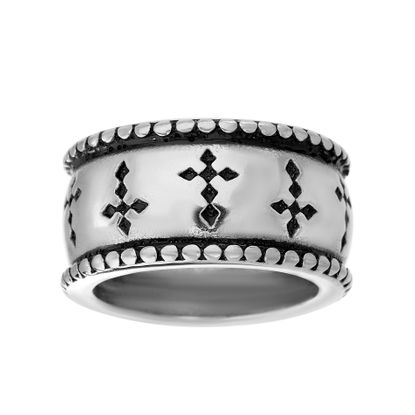 Imagen de Silver-Tone Stainless Steel Black Enamel Cross Band Ring